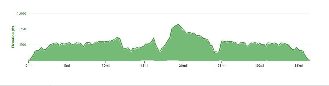 Harp Hilly Hundred 55km Route Profile