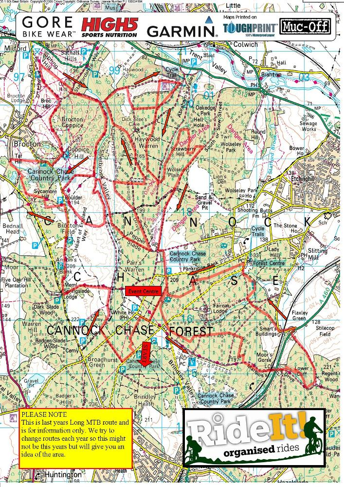 Cannock Chase Map Evans Cycles Off Road RideIt! Cannock Chase   Maps   UK   19th  Cannock Chase Map